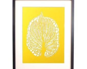 Laser Cut Leaf Vein Poster in Yellow