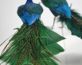 8 inch Wedding Teal Green/Blue Peacock Feathers Bird Decoration Ornament Tree Topper Decoration