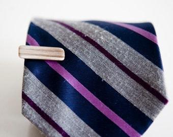 Men's Tie Clip / Vintage Handmade Tie Bar with Natural Stone