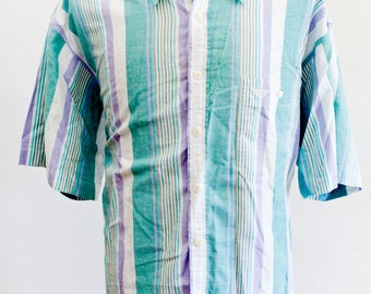 Men's Shirt / Vintage Pastel Summer Shirt by Dockers / Size XL