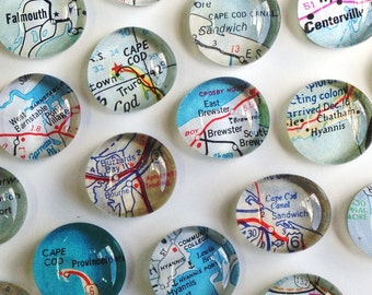 NEW Cape Cod Vintage Map Magnets - Set of Four  (you pick the towns) Perfect customized, personalized gift