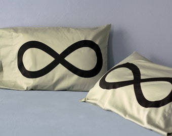 Green Infinity His Hers Pillow cases: unique wedding gift, anniversary giftt, cotton pillowcase, Standard or Queen bedding, set of 2