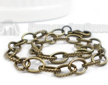 "Textured Open Cable, 8"" Chain with Lobster Claw Clasp, Antiqued Brass, 8mm Links, 1 Piece, 8S-CNABLC-008-004"