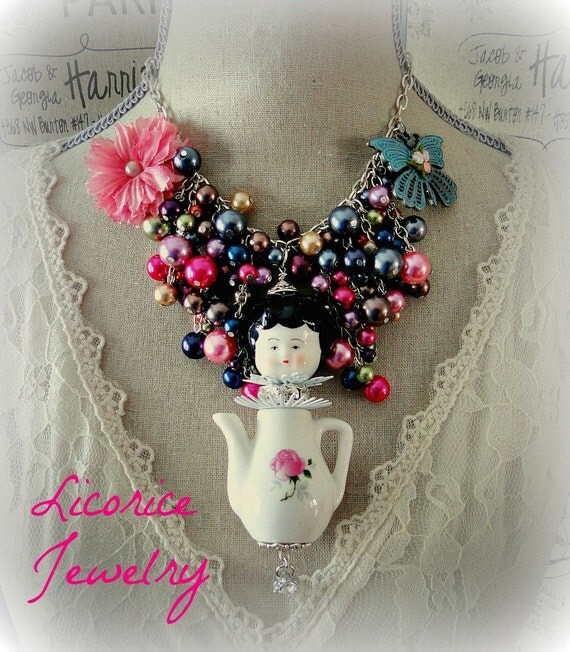 Antique Style Tea Pot Dolly porcelain DOLL Statement Necklace multi Pearl Cascade Bib pink rose flower retro vintage shabby chic