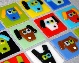 Dog Face Tile, Tack Fused, Colorful and Fun, 2 x 2, In Stock and Made to Order, Shipping Included