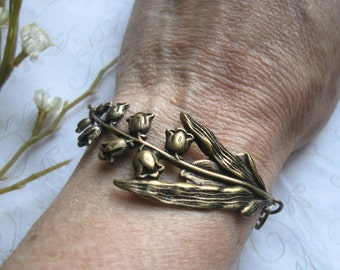 Lily of the valley bracelet, brass - nature jewelry, woodland flower