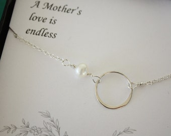 Mother Necklace, Infinite Love, Mom Necklace, Infinite Friendship, Circle Necklace, White Pearl, Sterling SIlver Necklace, Mothers Day