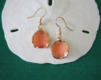Real Rose Petal Earrings, Orange Rose Petals, Rose Petal Jewlery