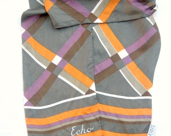 50s 60s ECHO scarf / vintage silk scarf / gray ORANGE purple brown abstract / oblong 64x7