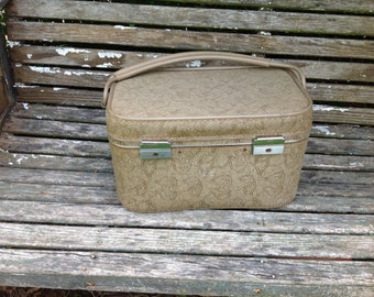 Vintage 1960s Era Taupe Tapestry Look Monogram EC Train Case/Luggage/Small Suitcase