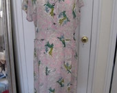Very Rare Pink Rayon 1940s Vintage Dress