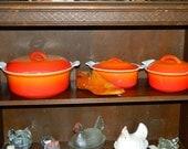 Descoware Belgium Flame Orange Mini Oval Dutch Oven Roaster with Lid, Enamel Cast Iron Ware, Julia Child's Fav
