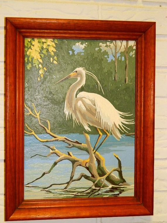 Paint by Number Crane Bird Painting, Wood Frame, Retro Wall Decor, Bird, Water Bird 11H