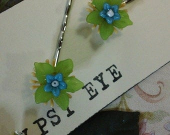 Melon and Turquoise Vintage Inspired Lucite Flower Bobby Pins