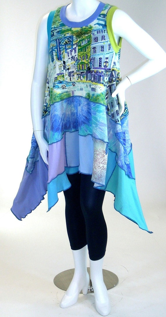 Reserved for Eileen, Blue and Aqua Flared , Letter 'A' Boulevard Scene Dress, Size Large (12-14-16)