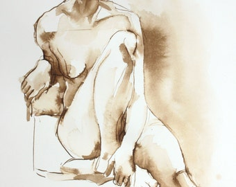 Original Ink Figure Drawing - Natalie Seated