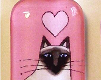 SALE... Sealpoint Siamese Glass Cat Pendant in Pink... Wearable Art Jewelry