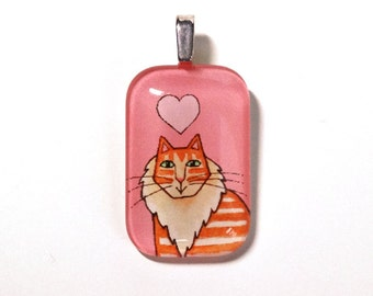 Orange Tabby Cat Pendant SALE/ Ginger Maine Coon Jewelry in Pink