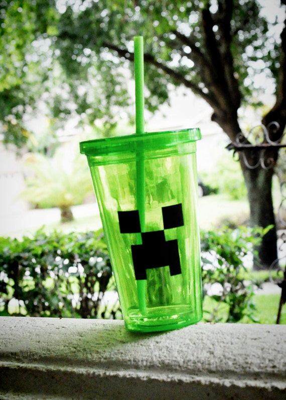 Minecraft Inspired Creeper Cup Double Walled With Lid And