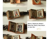 Halloween Photo Album Miniature Book 1:12 scale Digital Printable Project, Dollhouse Instant Download  DH007