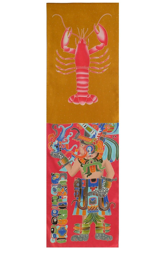 """Mayan Silk Scarf Hand Painted. Maya Warrior and Lobster. Hand Painted on Charmeuse Silk.. 21""""x72""""."""