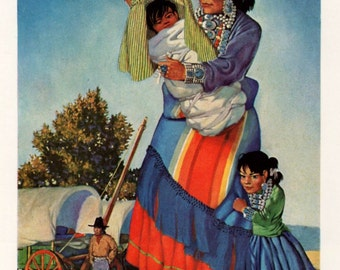 Blue of the Sky Red of the Desert Navajo Woman with Family by W Langdon Kihn for Framing