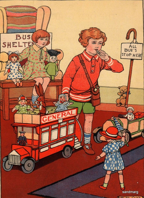Vintage Childrens Storybook Illustration The Nursery Bus Ruth