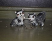 SALE Vintage Chained Grey Kittens