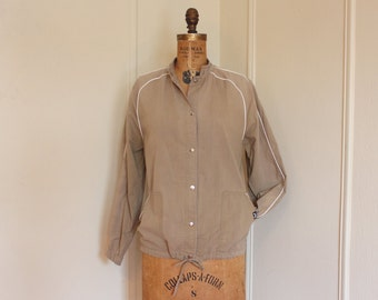 1980s Khaki and White Lightweight Cotton Safari Jacket - JAG - vintage size medium