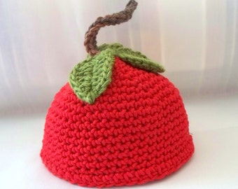 Crochet Doll Hat  Delicious Red Apple Fits 18 inch Doll