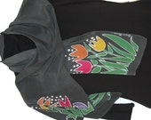 Tip Toe Through the Tulips   Hand Painted Silk Scarf  Slate Grey with Tulips