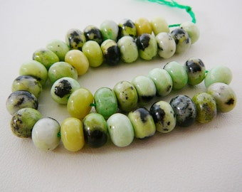Bead, Chrysoprase Gemstone, 8mm Rondel, Spacer, 8 inch strand