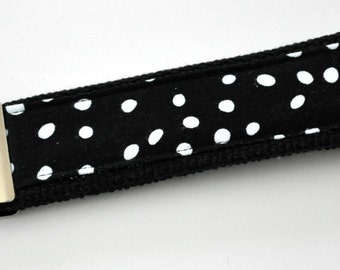 Black and White Circled Fabric on Black Heavy Duty Cotton Webbing