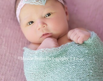Tenley - Vintage Inspired Lace Flower Headband - Pink Aqua Cream - Floral Pearl - Newborn Infant Baby Girl Toddler Adult