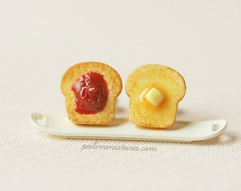 Breakfast Earrings - Toast Earrings - Butter and Strawberry Jam Toast Earrings