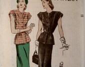 Vintage 1940s Two Piece Dress Pattern Vogue 5384 Bust 34 Peplum Blouse