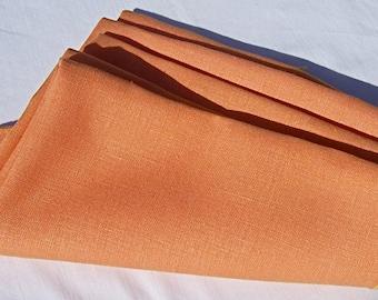 "Vintage Linen Napkins Tangerine 5 16"""