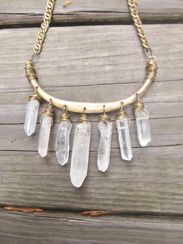 quartz bib necklace wire wrap crystal points rustic jewelry. Black Bedroom Furniture Sets. Home Design Ideas