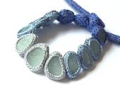 RESERVED Bib seaglass necklace 13 sea glass gray blue jewelry Weddings Choker collar crochet OOAK beach handmade gift her Mother's Birthday