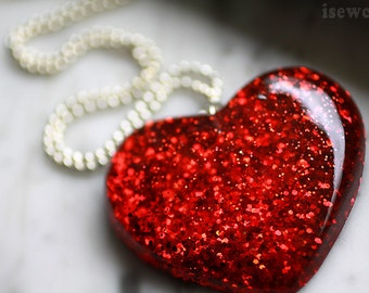 Huge Heart Pendant Necklace - Red Resin Pendant Necklace, Ruby Scarlet Red, Large Statement Necklace Big Heart Pendant - Handmade isewcute