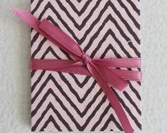 Mini Accordion Book or Card Pink and Black Striped by PrairiePeasant
