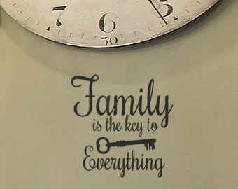 """24"""" wide X 18"""" tall Family is the Key to Everything Vinyl wall decal"""