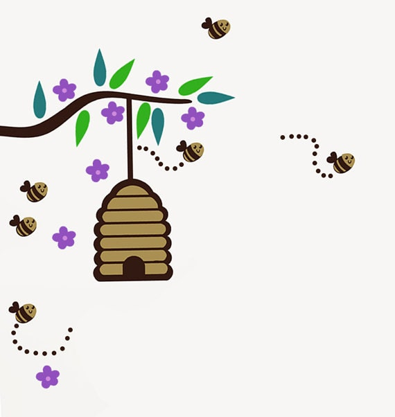 Bumble bee wall decal with branch and beehive by for Bumble bee mural