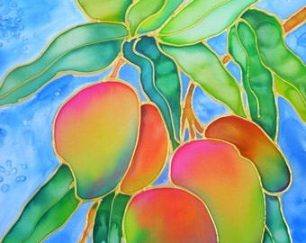 Hawaiian Mangoes 8x10 print  from Kauai Hawaii blue orange red green