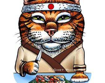 "Konnichiwa- 8"" x 10"" Cat as Sushi Chef Art Print- Whimsical Cat Wall Decor"