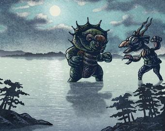 Kaiju Moonlight Battle- 11 x14 signed print- Japanese monsters
