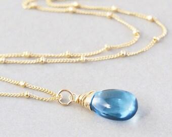 Blue Topaz Necklace, Gemstone Necklace, December Birthstone, London Blue Topzaz