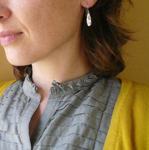 Hammered Teardrop Earrings in Sterling Silver