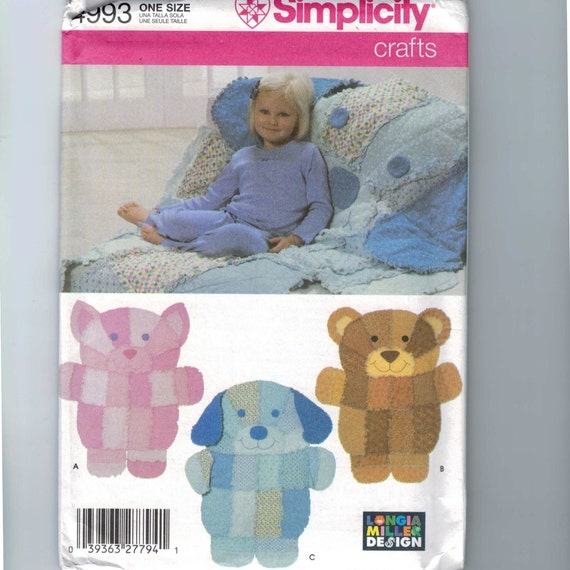 craft sewing pattern simplicity 4993 rag quilt animal wall