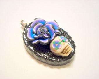 Purple Rose Lolita Day of the Dead Pendant